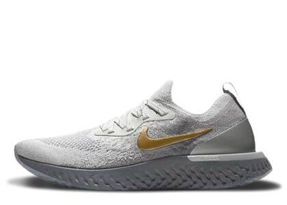 Nike Epic React Flyknit Vast Grey Metallic Gold Womensの写真
