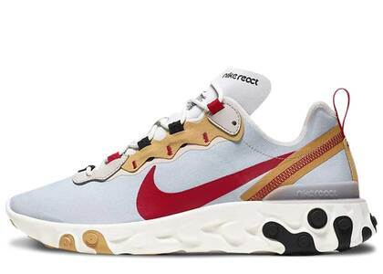 Nike React Element 55 Pure Platinum Club Gold Redの写真
