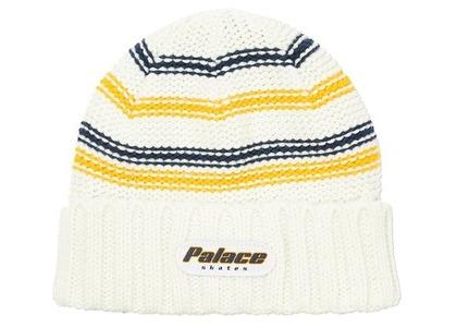 Palace Stripe Rib Beanie White  (FW20)の写真