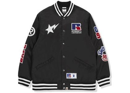 Bape x Russell College Varsity Jacket Black (FW20)の写真