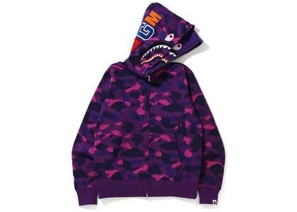 Bape Color Camo Shark Wide Full Zip Double Hoodie Purple (FW20)の写真