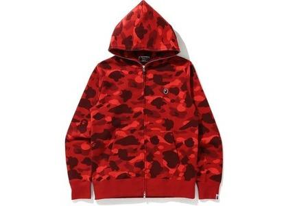 Bape Color Camo Ape Head One Point Full Zip Hoodie Red (FW20)の写真