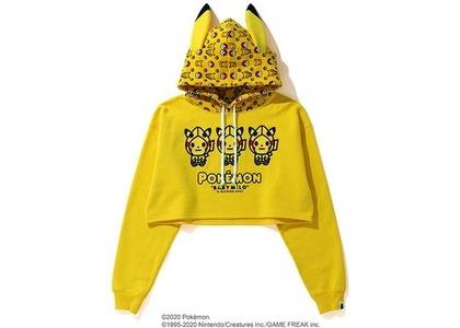 Bape x Pokemon Ladies Cropped Pullover Hoodie Yellow (FW20)の写真