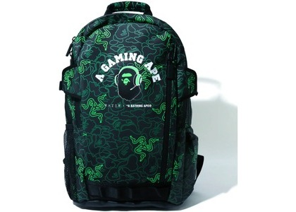BAPE x Razer A Bathing Ape Neon Camo Backpack Green (FW20)の写真
