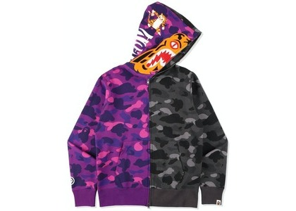 Bape Color Camo Tiger Shark Half Full Zip Hoodie Purple (SS21)の写真