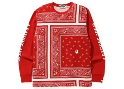 Bape Bandana Print L/S Tee Red (FW20)の写真