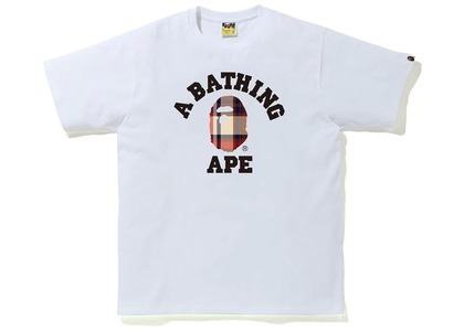 Bape Check College Tee White/Red (FW20)の写真