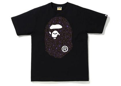 Bape Leopard Big Ape Head Tee Black/Black (FW20)の写真