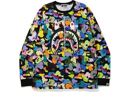 Bape Multi Camo Shark L/S Tee Black (FW20)の写真