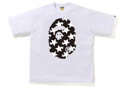 Bape STA Pattern Big Ape Head Relaxed Tee White/Black (FW20)の写真