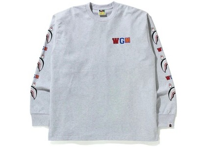 Bape WGM Shark Relaxed Fit L/S Tee Gray (FW20)の写真