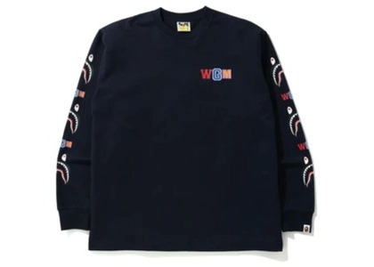 Bape WGM Shark Relaxed Fit L/S Tee Navy (FW20)の写真