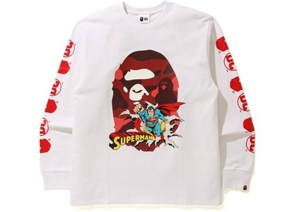 Bape x DC Superman Long Sleeve Tee White (FW20)の写真