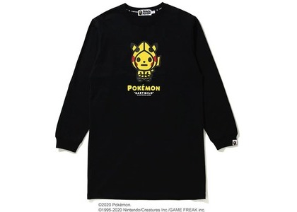 Bape x Pokemon Ladies Pikachu L/S Tee Onepiece Black (FW20)の写真