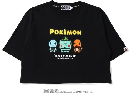 Bape x Pokemon Ladies Starters Cropped Tee Black (FW20)の写真