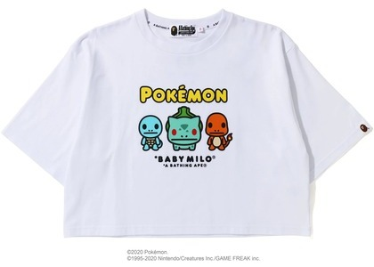Bape x Pokemon Ladies Starters Cropped Tee White (FW20)の写真