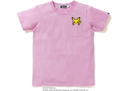 Bape x Pokemon Pikachu Ladies Pocket Tee Pink (FW20)の写真