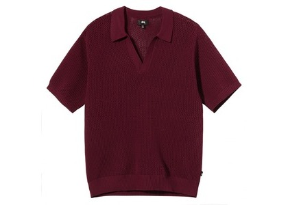 Stussy Cable Mesh SS Polo Burgundy (SS21)の写真