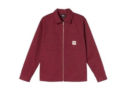 Stussy Full Zip LS Work Shirt Burgundy (SS21)の写真