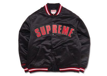 Supreme Mitchell & Ness Satin Varsity Jacket Black (SS21)の写真