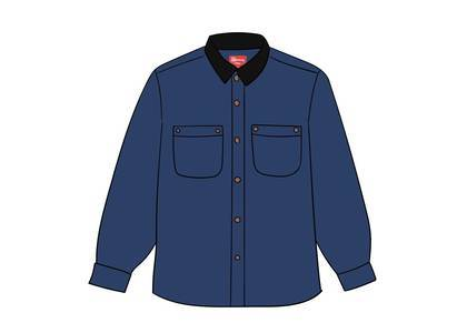 Supreme Script Canvas Snap Shirt Blueの写真