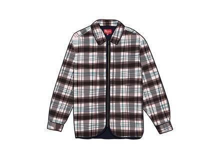 Supreme Quilted Plaid Zip Up Shirt OffWhiteの写真