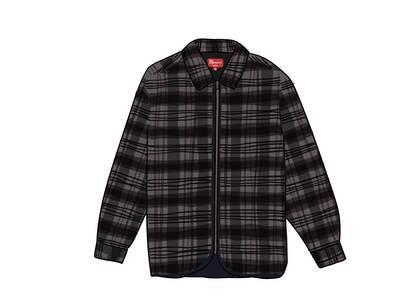 Supreme Quilted Plaid Zip Up Shirt Blackの写真