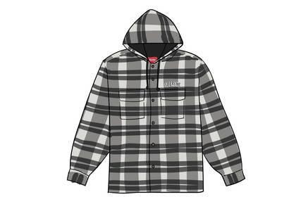 Supreme Quilted Hooded Plaid Shirt Blackの写真