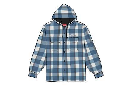 Supreme Quilted Hooded Plaid Shirt Blueの写真