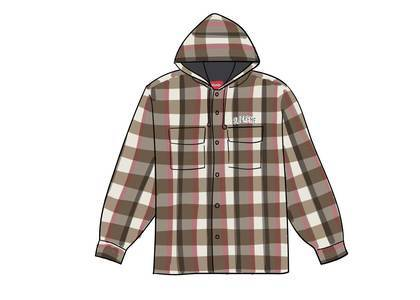 Supreme Quilted Hooded Plaid Shirt Brownの写真
