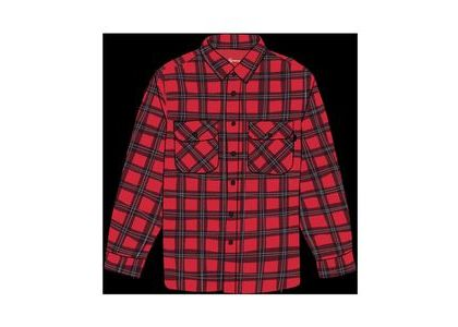 Supreme Arc Logo Quilted Flannel Shirt Redの写真
