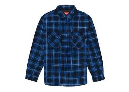 Supreme Arc Logo Quilted Flannel Shirt Blackの写真