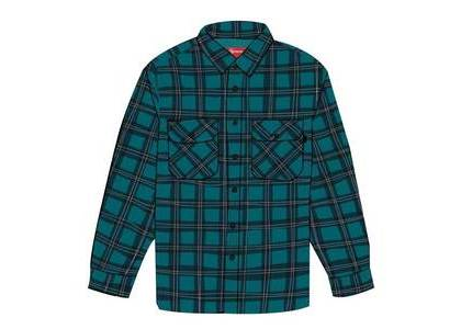 Supreme Arc Logo Quilted Flannel Shirt Greenの写真