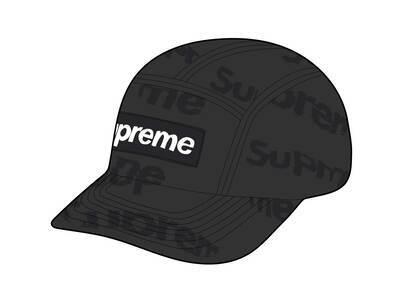 Supreme Frayed Logos Denim Camp Cap Black (SS21)の写真