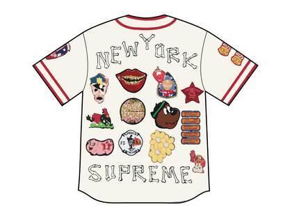 Supreme Patches Denim Baseball Jersey White (SS21)の写真