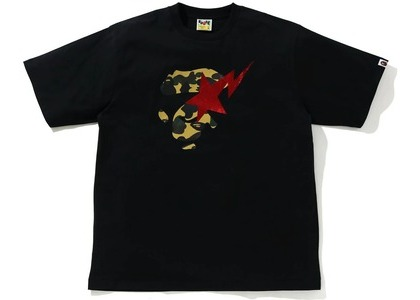 Bape 1st Camo Ape Face Sta Relaxed Fit Tee Black/yellow (SS21)の写真