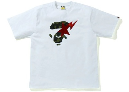Bape 1st Camo Ape Face Sta Relaxed Fit Tee White/green (SS21)の写真