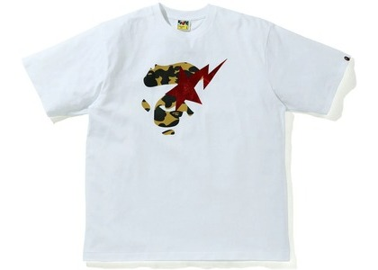 Bape 1st Camo Ape Face Sta Relaxed Fit Tee White/yellow (SS21)の写真