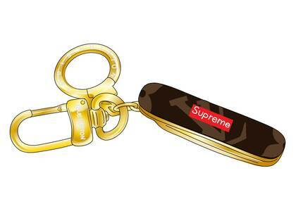Supreme x Louis Vuitton Pocket Knife Key Chain Brown in Leather with Gold (SS17)の写真