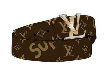 Supreme x Louis Vuitton initiales Belt 40 MM Monogram Brown Gold (SS17)の写真