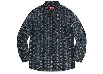Supreme Warp Jacquard Logos Denim Shirt Black (SS21)の写真