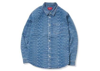Supreme Warp Jacquard Logos Denim Shirt Blue (SS21)の写真