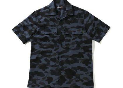BAPE Mr Camo Open Collar Shirt Black (SS21)の写真