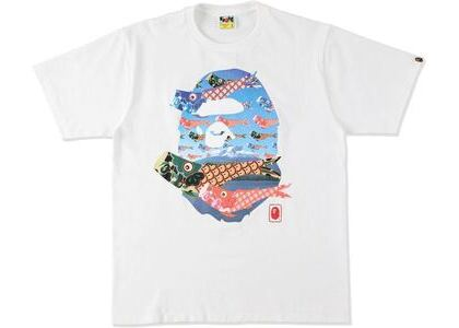 BAPE Koinobori Carp Flags Ape Head Tee White (SS21)の写真