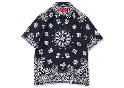 Supreme Bandana Silk S/S Shirt Black (SS21)の写真