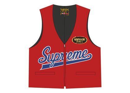 Supreme Vanson Leathers Spider Web Vest Red (SS21)の写真