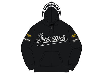 Supreme Vanson Leathers Spider Web Zip Up Hooded Sweatshirt Black (SS21)の写真