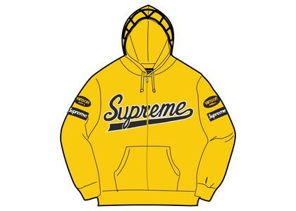 Supreme Vanson Leathers Spider Web Zip Up Hooded Sweatshirt Yellow (SS21)の写真