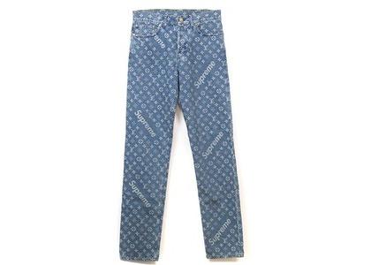 Supreme x Louis Vuitton Jacquard Denim 5-Pocket Jean Blue (SS17)の写真