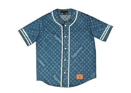 Supreme x Louis Vuitton Jacquard Denim Baseball Jersey Blue (SS17)の写真